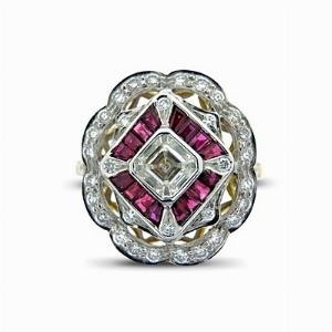Deco Style Ruby & Diamond Cluster 1.19ct